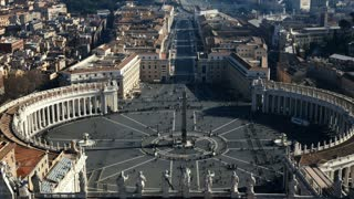 Stop motion video of the Saint Peter's square, view from the dome of Saint Peter Basilica in the Rome, Italy.