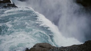 Time lapse of the beautiful Gullfoss waterfall in Iceland. Turbulent flow of water falls down from the cliff.