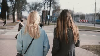 Two girlfriends walking together in the street. Young ladies in neat stylish clothes in city surroundings. Back view.