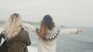 Two happy woman traveling together. Girl having fun on beach near troll toes in Iceland, raising up hands and hugging.