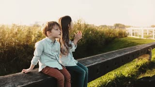 Two little Caucasian kids sit on rural farm fence. Boy and girl look around near a sunny wheat field. Panning left. 4K.
