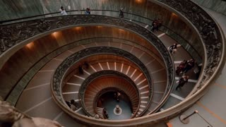 VATIKAN, ROME, ITALY-29. 01 Famous historical spiral staircase in Vatican. Touristic crowd moving downstairs. Time lapse.