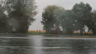 view of cars passing by on the road in the rain, splashing water around. Trees on the other side.