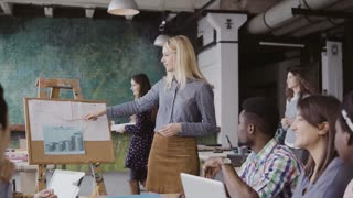 Young blonde female manager motivates mixed race colleagues to work. Team leader presents financial data at loft office.
