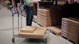 Waist-deep view of a man checking his list and pushing a trolley with boxes on it in a warehouse