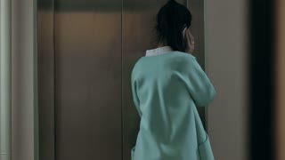 Woman talking on the phone and enters the elevator