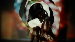 Woman using VR-helmet. vr dance simulator