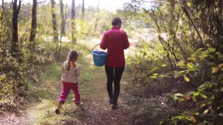 Young beautiful mother and her daughter walking in the forest at autumn with basket and looking for mushrooms. Back view