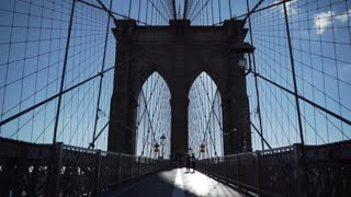 Brooklyn Bridge Tower on the wooden walkway
