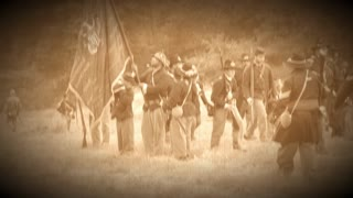 Civil war soldiers regrouping (Archive Footage Version)