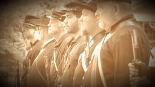 Civil War soldiers shoulder their guns (Archive Footage Version)