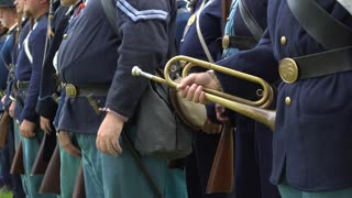 Group of Civil War soldiers with bugle