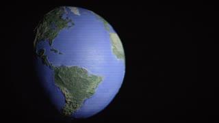 Half-lit off-center seamless loop of digitized globe