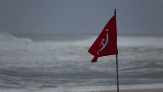 No swimming flag in a storm