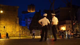 Scenes of Police at Night in Rome (1 of 2)