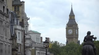 Big Ben and statue of George IV in Trafalgar Square