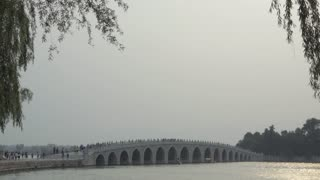 Side view of the Seventeen Hole bridge Summer Palace