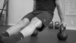 Slow motion kettle bell work out (B&W)
