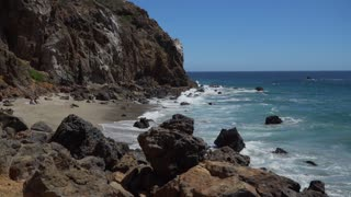 View of secluded beach at Point Dume