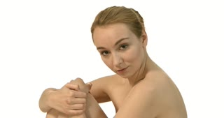 Portrait of young beautiful topless caucasian woman.
