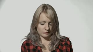 Sad woman looking worried and thoughtful facial expression feeling depressed.