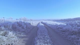 Winter road. Photo of free space for your decoration. Snow and frost.