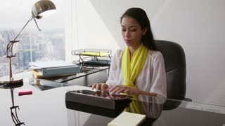 11 Portrait Of Business Woman Working In Office With Tablet