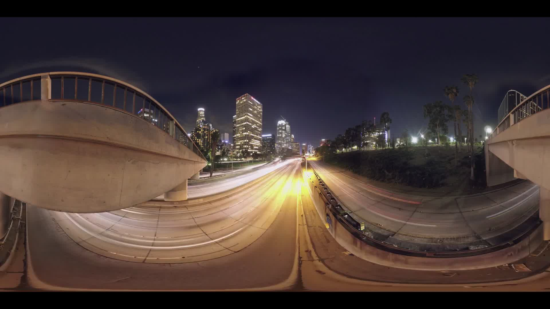 360° Time Lapse of Los Angeles Highway Traffic From Overpass