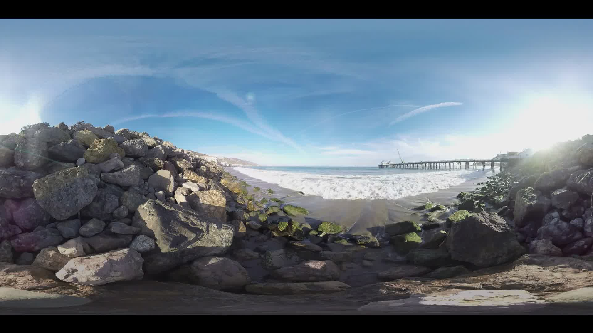 360 Video of Beach and Pier