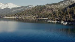 4K Aerial flying over Lake Tahoe