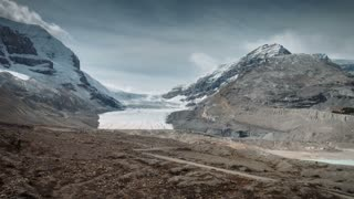 4K 60fps Aerial of Athabasca Glacier in Jasper