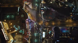4K Aerial Birds Eye View of Las Vegas Strip at Night
