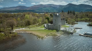 4K Aerial flying around Killarney Castle in Ireland