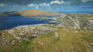 4K Aerial flying over Dingle Peninsula in Ireland