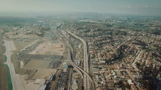 4K Aerial Flying Over Freeway in City