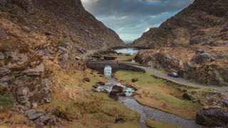 4K Aerial flying over Gap of Dunloe Bridge in Ireland