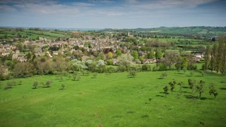 4K Aerial Flying over Green Pasture in England