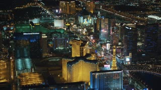 4K Aerial of Las Vegas Strip at Night