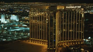 4K Aerial of Mandalay Bay Hotel in Las Vegas at Night