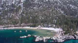 4K Aerial Panning shot of Lake Tahoe Shoreline