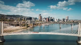 4K Aerial Portland Oregon: Caruthers Bridge