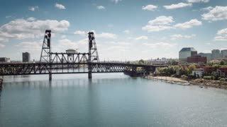 4K Aerial Portland Oregon: Steel Bridge