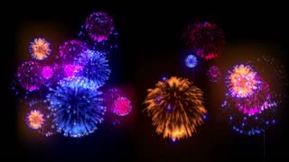 4K big beatiful firework at holiday night. 3d animation with different versions fireckrackers. version 11