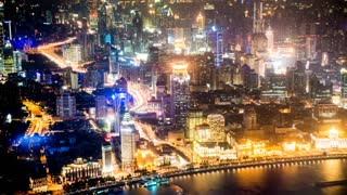 4k resolution Aerial view bund of Shanghai