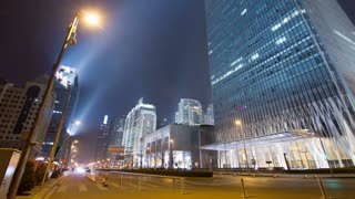 4k resolution Beijing Central Business District night scene time lapse