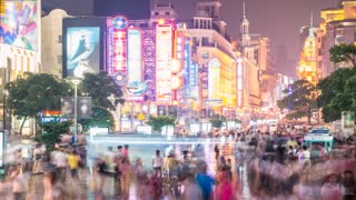4k resolution Nanjing Road Shopping Street of Shanghai