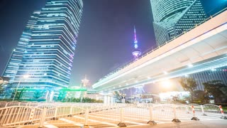4k resolution Shanghai Office buildings Overline bridge night  time lapse
