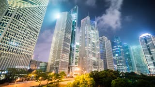 4k resolution Shanghai office buildings skyline
