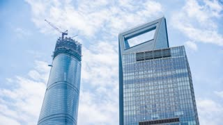 4k resolution Shanghai Tower and Shanghai World Financial Center