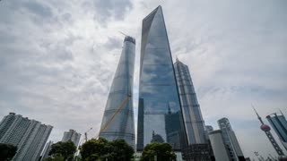 4k resolution Three biggiest office buildings in Shanghai